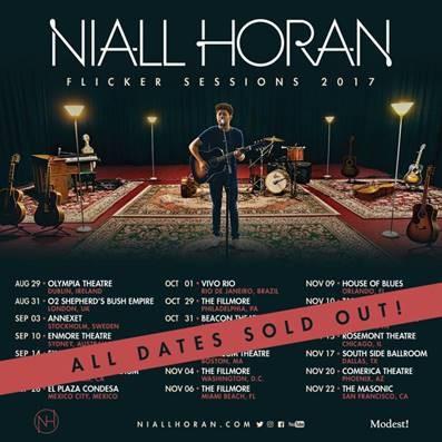 """Com ingressos esgotados, Niall Horan inicia a turnê """"Flicker Sessions 2017"""", em Dublin. Show passa pelo Brasil em outubro"""