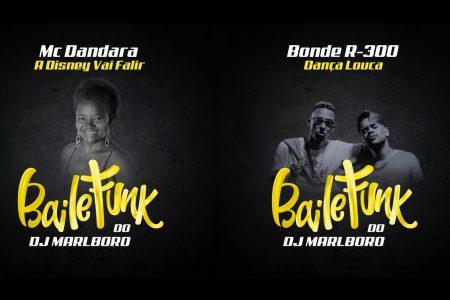 """O """"Baile do Marlboro"""", novo projeto do DJ Marlboro, segue a todo vapor. Ouça as faixas """"A Disney Vai Falir"""", com a participação de MC Dandara, e """"Dança Louca"""", com a colaboração do Bonde R-300"""
