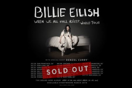 "A turnê ""WE ALL FALL ASLEEP"", da cantora Billie Eilish, já vendeu mais de 138 mil ingressos"