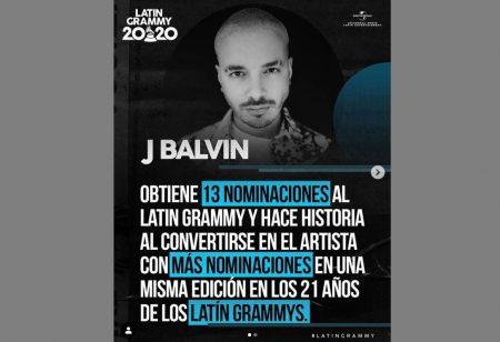 J BALVIN É O RECORDISTA DE INDICAÇÕES EM UMA EDIÇÃO DO LATIN GRAMMY®